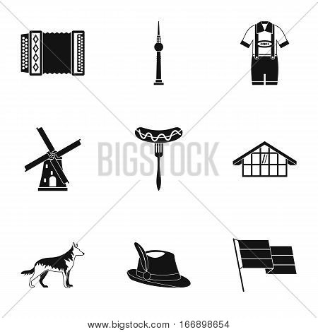 Tourism in Germany icons set. Simple illustration of 9 tourism in Germany vector icons for web
