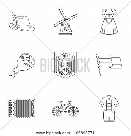 Country Germany icons set. Outline illustration of 9 country Germany vector icons for web