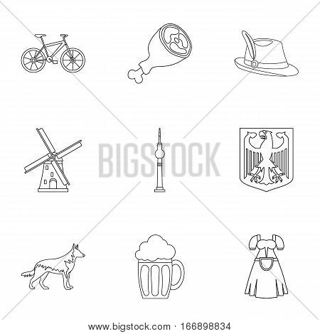 Travel to Germany icons set. Outline illustration of 9 travel to Germany vector icons for web