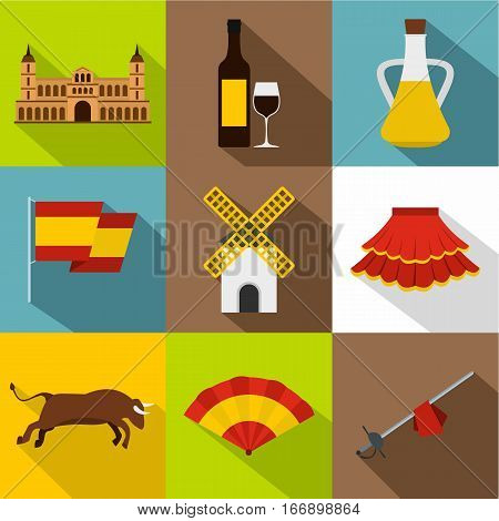 Country Spain icons set. Flat illustration of 9 country Spain vector icons for web