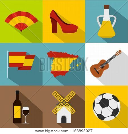 Holiday in Spain icons set. Flat illustration of 9 holiday in Spain vector icons for web