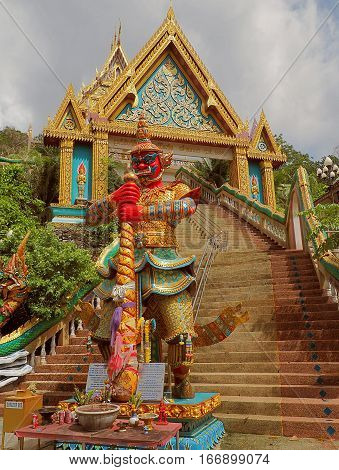 Yommaraj the temple of Khao Rang. Phuket, Thailand - May 29, 2016 The statue of Lord's death Ypmmaraj before the temple of Khao Rang in the provinces of Phuket in Thailand.