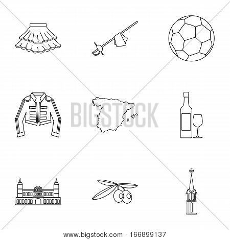 Spain icons set. Outline illustration of 9 Spain vector icons for web