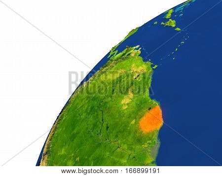 Country Of French Guiana Satellite View