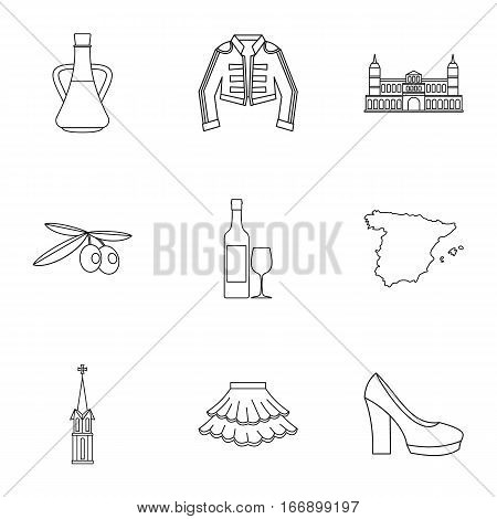 Holiday in Spain icons set. Outline illustration of 9 holiday in Spain vector icons for web