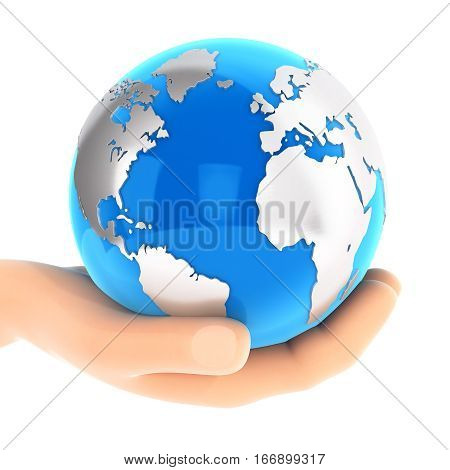3d hand holding blue earth illustration with isolated white background