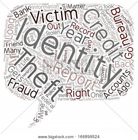 Identity Theft Recovery The Road Back text background wordcloud concept