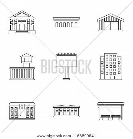 Public building icons set. Outline illustration of 9 public building vector icons for web