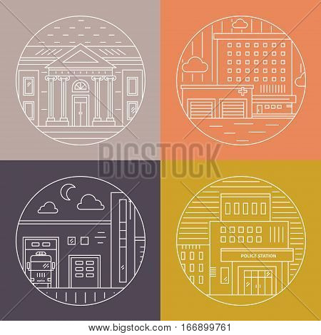 Vector illustration of different govenmental buildings including hospital, police station, museum. Trendy line style vector illustration. City architecture concept. Government buildings.