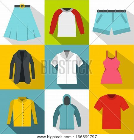 Kind of clothing icons set. Flat illustration of 9 kind of clothing vector icons for web