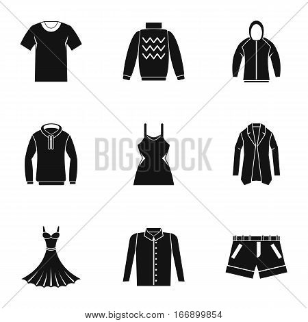 Clothing icons set. Simple illustration of 9 clothing vector icons for web