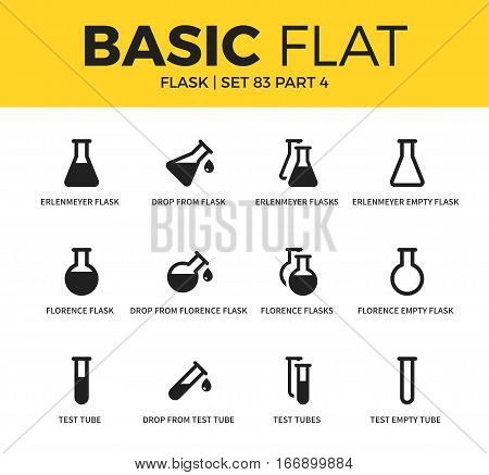 Basic set of drop flask, test tube and test empty tube icons. Modern flat pictogram collection. Vector material design concept, web symbols and logo concept.