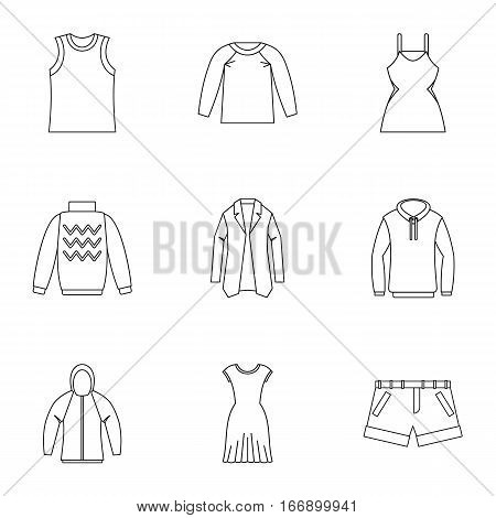 Clothing icons set. Outline illustration of 9 clothing vector icons for web