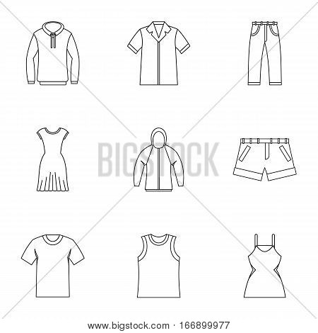 Kind of clothing icons set. Outline illustration of 9 kind of clothing vector icons for web