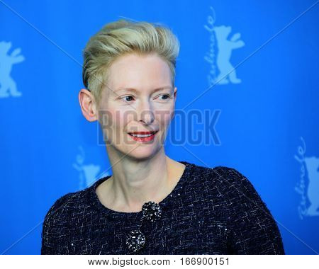 Berlin, Germany - February 11, 2016: Actress Tilda Swinton attends the 'Hail, Caesar!' photo call during the 66th Berlinale International Film Festival Berlin