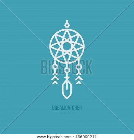 Simple graphical illustration of dream catcher. Indian symbol. Vector line style.