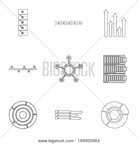 Analytics icons set. Outline illustration of 9 analytics vector icons for web
