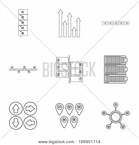 Business analyst icons set. Outline illustration of 9 business analyst vector icons for web