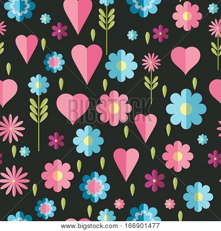 Cute flat background, vector pattern with forget-me-not flowers. Seamless vector floral pattern for cushion, pillow, bandanna, silk kerchief or shawl fabric print. Texture for clothes, bedclothes