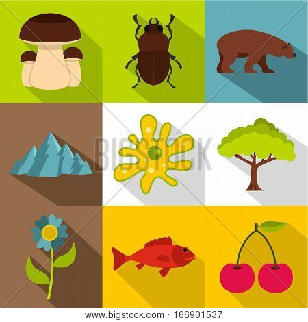 Flora and fauna icons set. Flat illustration of 9 flora and fauna vector icons for web