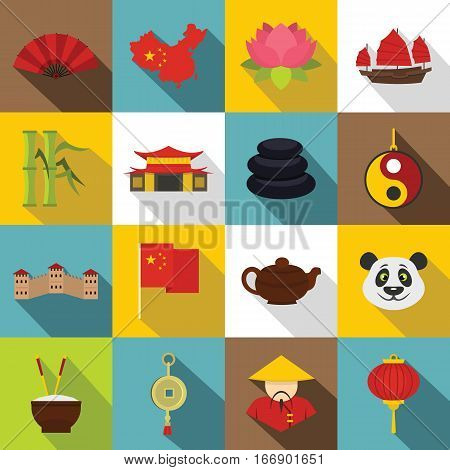 China travel symbols icons set. Flat illustration of 16 China travel symbols vector icons for web