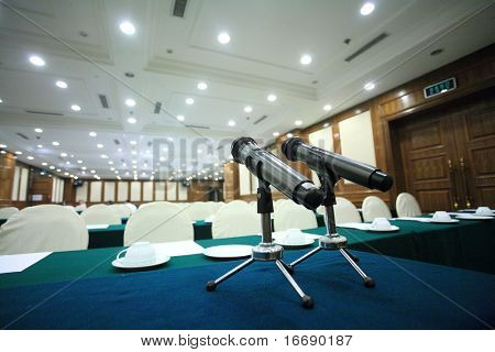 microphone in a big conference hall