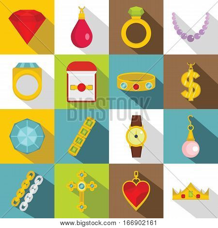 Jewelry items icons set. Flat illustration of 16 jewelry items vector icons for web