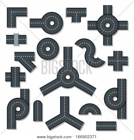 Road elements parts icons set. Flat illustration of 16 road elements parts vector icons for web