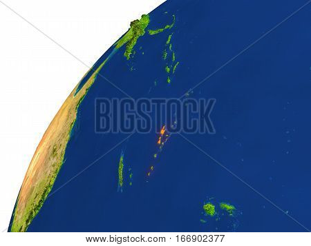 Country Of Vanuatu Satellite View