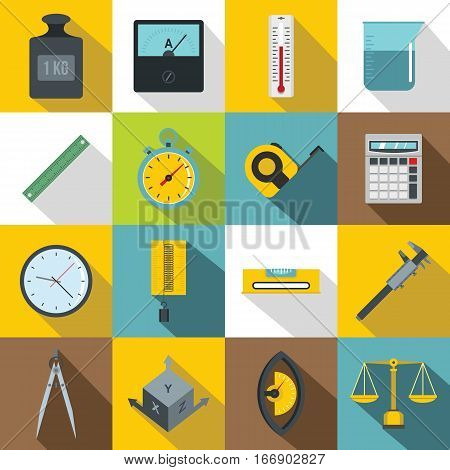 Measure precision icons set. Flat illustration of 16 measure precision vector icons for web