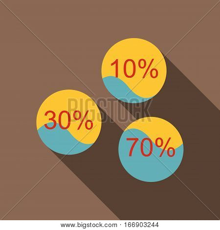 Percent showing infographics icon. Flat illustration of percent showing infographics vector icon for web design