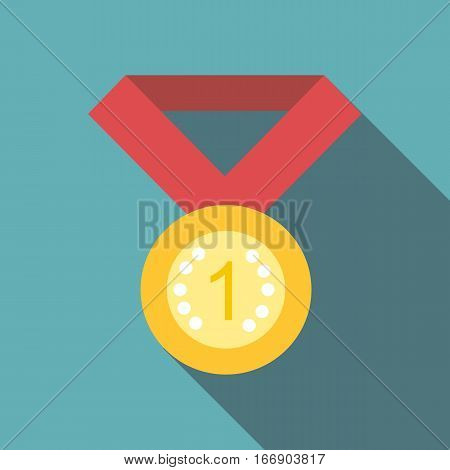 Medal for first place icon. Flat illustration of medal for first place vector icon for web design