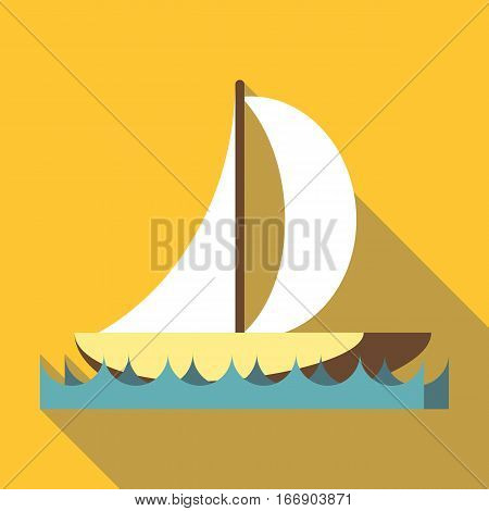 Sport boat with a sail icon. Flat illustration of sport boat with a sail vector icon for web design