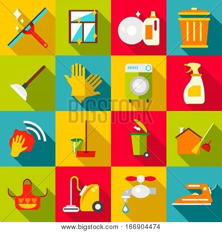 Cleaning items icons set. Flat illustration of 16 cleaning items vector icons for web