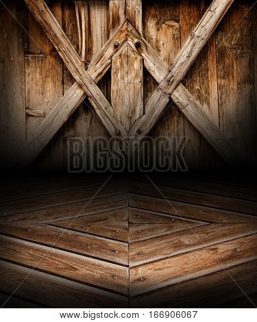 Wooden geometric scene background and floor. Wood place. Background composed by wooden boards with geometric shapes. Floor with perspective.
