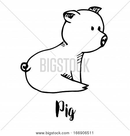 Piggy isolated on a white background. Vector illustration in a sketch style.