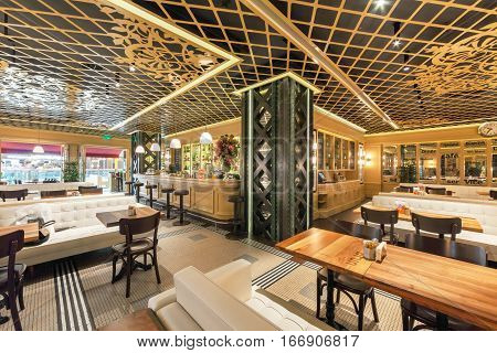 MOSCOW - AUGUST 2014: Interior of a Turkish chain restaurant