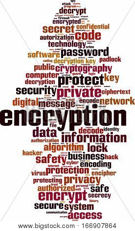Encryption word cloud concept. Vector illustration on white