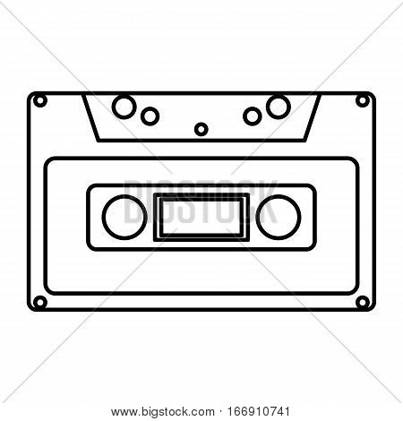 Simple thin line casette tape icon vector