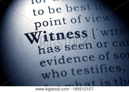 Fake Dictionary Dictionary definition of the word witness.