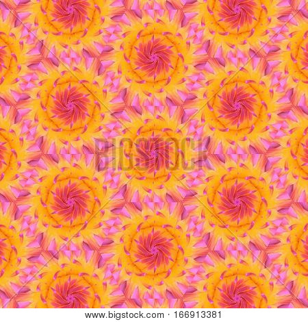 Kaleidoscope pattern texture pink water lily flower