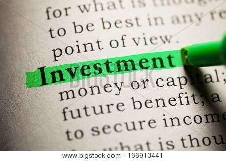Fake Dictionary definition of the word Investment.