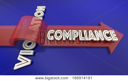 Compliance Vs Violation Arrow Over Word Comply Follow Rules 3d Illustration