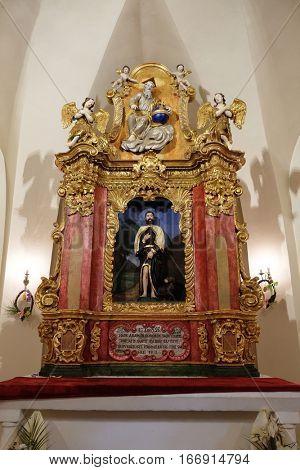 ZAGREB, CROATIA - MAY 16: Main altar in chapel of Saint Roch, Croatia on May 16, 2016.