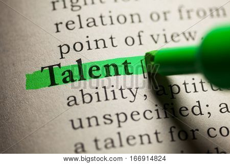 Fake Dictionary definition of the word talent.