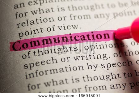 Fake Dictionary definition of the word communication.