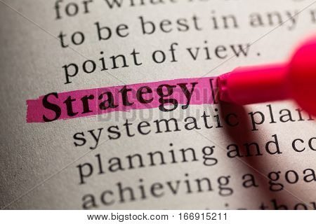 Fake Dictionary definition of the word strategy.