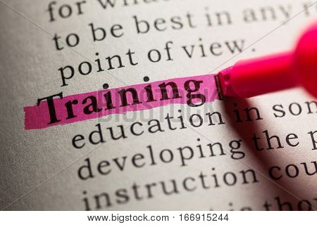 Fake Dictionary definition of the word training.