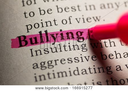 Fake Dictionary definition of the word bullying.