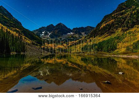 The Maroon Bells with Fall Colors during Early Morning